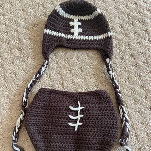 Crocheted Newborn Outfit Football photo prop